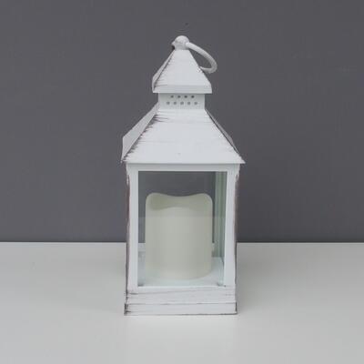 Laterne weiß inkl. LED Kerze