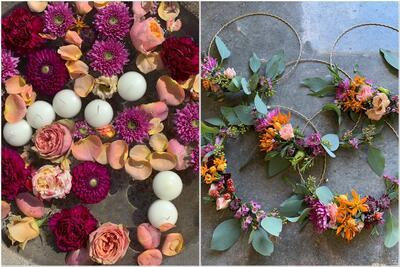 Blumendeko und Ringe