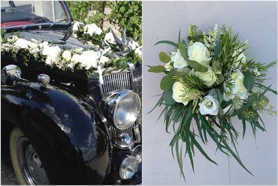 Autoschmuck und Brautstrauß